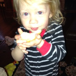 This little monkey woke us up at 5:15. So far we have played with play-doh, painted, blown bubbles, taken apart a truck and discovered his love of biscuits with rhubarb jam. Here's to the happiest, hardest and most love filled 2 years of my life. Happy mama's day!