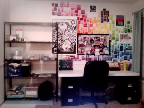 My new art space in my living room. We'll see how long it stays organized…