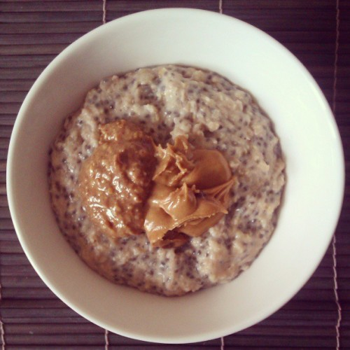 Cookies and cream chia seed oats with natural peanut butter and Cookie Nookie peanut butter #heaven