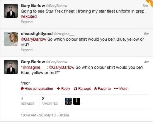 ohsoslightlyocd:  so i finally got my gary tweet, eeeeeeeeek  Well done :o)