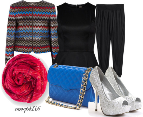 hijabistalady#413 by snowpink265 featuring plus size black pants ❤ liked on PolyvoreONLY sleeveless peplum top, $33 / Alice Olivia brown jacket, $405 / H&M plus size black pants, $22 / Saba wedding shoes pumps, $36 / Rebecca Minkoff shoulder strap bag / Faliero Sarti red scarve, $205