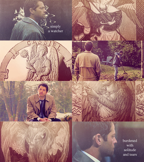"treetopperstiel:  Supernatural Mythology      ↳Castiel/Cassiel             Judeo-Christian lesser archangel: ""-he is simply a watcher, bearing witness to all of the events that unfold within our universe… burdened with solitude and tears. Cassiel very much enjoys the company of us humans, almost preferring them over the company of his angelic brothers and sisters."" [x]"