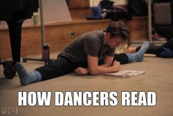 idledancer:  How Dancers Read (photo Ezra Thomson, Pacific Northwest Ballet)