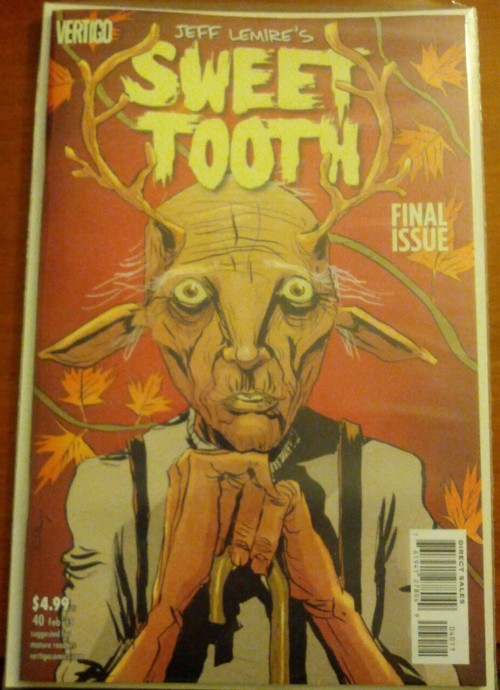 Wow…. I just finished the final issue of Sweet Tooth. This has been easily one of my favorite stories. The art is amazing and the story had been heartbreaking at times but ends on a note of hope. I HIGHLY suggest you go out and pick up the first volume. It will grab you right away.