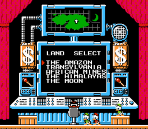 In-Game: Ducktales Level Selection Screen Released in September 1989 for NES (NA)