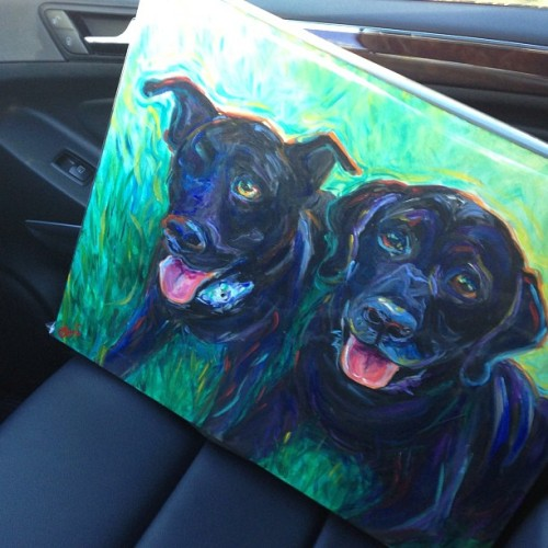 Delivery day. #originalart #petportrait #labrador #blacklab #petrescue