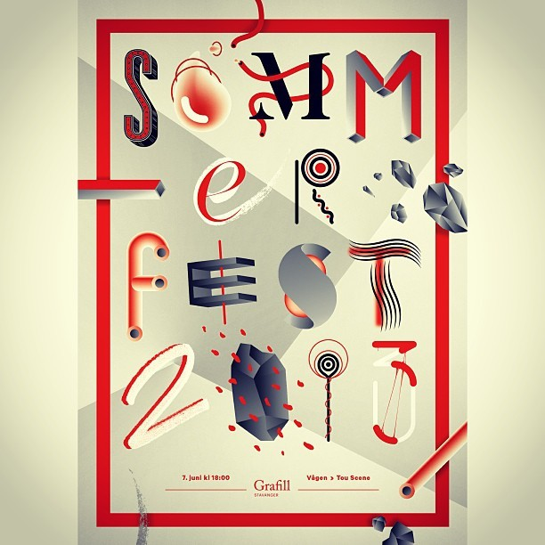Grafill Stavanger sommerfest 7. Juni! #poster #graphicdesign #type #letters #summer #party #grafill #stavanger