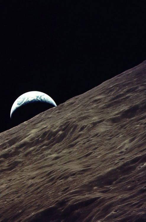 crookedindifference:  December, 1972 - Apollo 17. Earthrise viewed from Apollo 17
