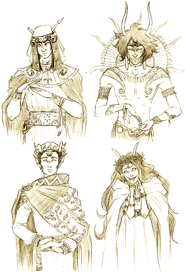 mesitka:  And finally the last batch of troll gods! Eridan's design and clothing ended up being a drama and I'm still unhappy with the pattern on his cape, bleh. To have it it all together: here's are the mid-bloods and here the lowbloods (with an explanation of this whole thing).