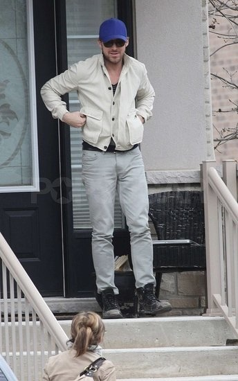 addictedtoryangosling:  Ryan on his mama porch waiting for her. 2011, 9 May - Mom's Day)