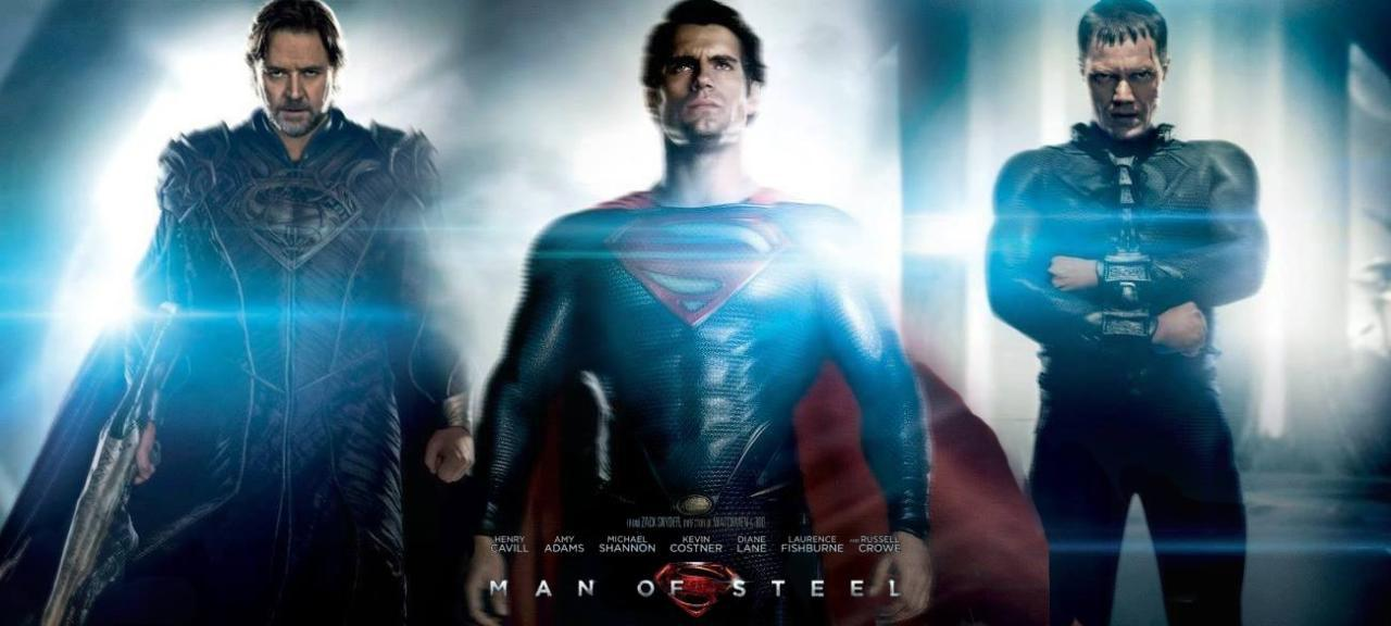 New Man Of Steel banner featuring Superman, Zod, and Jor-El! Man Of Steel hits theaters June 14th  In the pantheon of superheroes, Superman is the most recognized and revered character of all time. Clark Kent/Kal-El (Henry Cavill) is a young twenty-something journalist who feels alienated by powers beyond his imagination. Transported years ago to Earth from Krypton, a highly advanced, distant planet, Clark struggles with the ultimate question 'Why am I here?' Shaped by the values of his adoptive parents Martha (Diane Lane) and Jonathan Kent (Kevin Costner), Clark discovers having extraordinary abilities means making difficult decisions. When the world is in dire need of stability, an even greater threat emerges. Clark must become a Man of Steel, to protect the people he loves and shine as the world's beacon of hope – Superman.