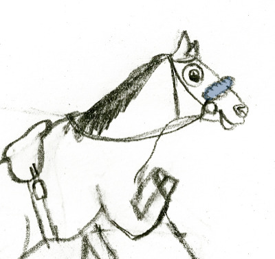 I'm just super duper creative today and wanted to DOODLE my Arkansas Derby (I) pick today, seeing as I picked Bodemeister last year and Archarcharch the year before. This colty is listening to some off-screen instructions on how to make an Oxbutt out of Oxbow. (Fantastic original art by me)
