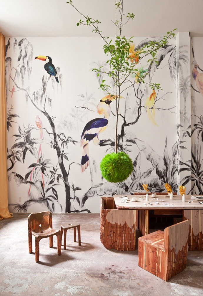 Stunning wall mural and kokedama.