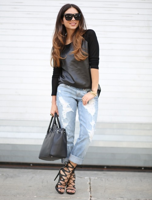 what-do-i-wear:  ROMWE leather panel long sleeve topDITTOS boyfriend jeansSHOEDAZZLE lace up heelMYBAG.NET classic bagZEROUV sunglasses (image: nanysklozet)