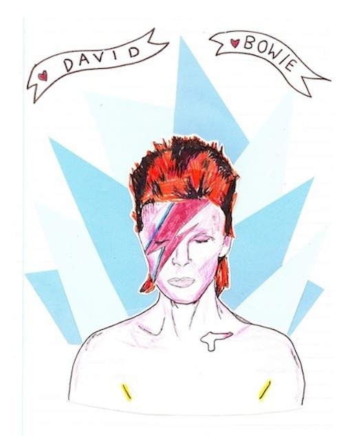 Hero Status: David Bowie  A star man—and a real human being. By Brittany. Illustration by Caitlin H.