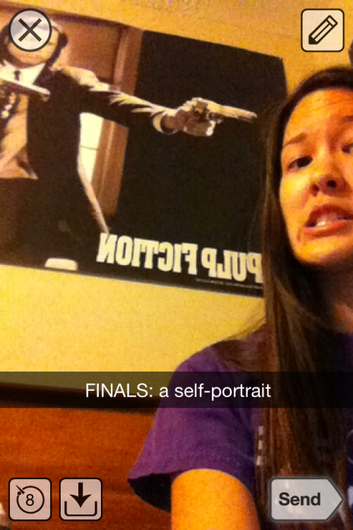 today i snapchatted the most accurate depiction of finals week, ever.