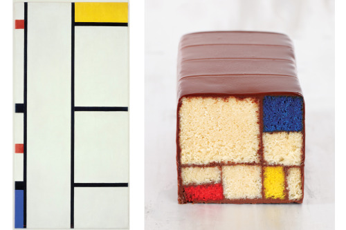 "arianawrites:  npr:  As an artist, Caitlin Freeman found her calling in cake. She bakes at the cafe in the San Francisco Museum of Modern Art, where the most popular item is a dessert inspired by the art of Piet Mondrian. It features geometric blocks of white velvet cake, colored red, blue and yellow, stacked together and ""glued"" with chocolate. It takes two days to prepare, according to her new cookbook, Modern Art Desserts. Want. Cake. Now. -Heidi Photos: Art 2013 Mondrian/Holtzman Trust c/o HCR International USA/Dessert Clay McLachlan/Reprinted by permission from 'Modern Art Desserts'  This was featured on the food network a while ago and I have wanted to eat it ever since."