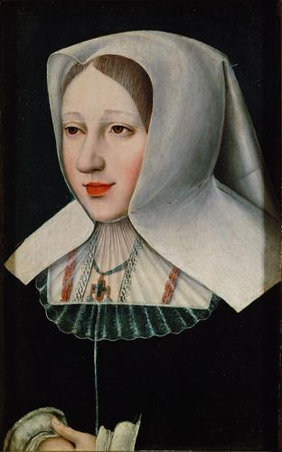 Bust of Archduchess Margaret of Austria (1480-1530) as a Widow by anonymous, after 1506 the Netherlands, Kunst Historisches Museum Wien This seems to be a much more flattering version of a portrait in the Royal Museum of Fine Arts of Belgium by Bernard van Orley.  If the van Orley image is the original, then the Vienna one probably dates from at least 1518, when van Orley became Margaret of Austria's official painter.  She could be mourning for her father, Maximilian I, Holy Roman Emperor, who died in 1519.