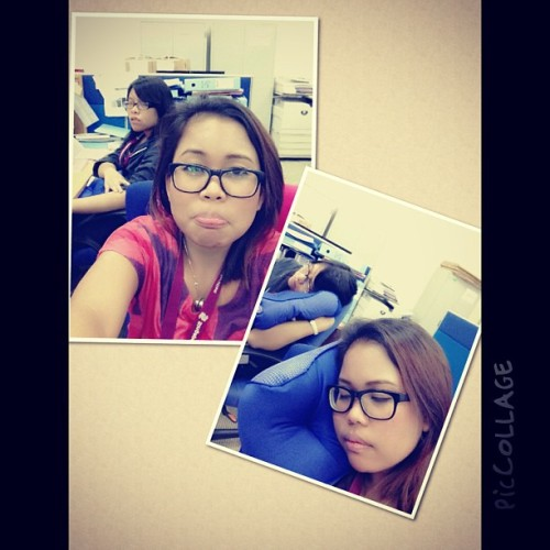 ;Still in the office waiting for our rides. #office #tired #sleepy #piccollage