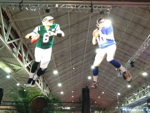 sportsnetny:  @MMehtaNYDN: Four cutouts of NFL QBs hanging from ceiling at #SB47 Fan Experience expo. #NYJ & #NYG are represented.  The only way Sanchez will ever be at a Super Bowl is in cutout form.