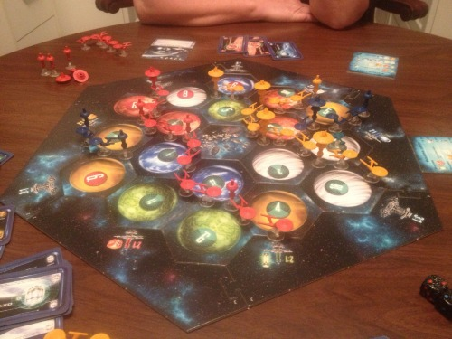 seenontabletop:  Do you love Settlers of Catan? Do you love Star Trek? Well have the best of both with Star Trek Catan. Right now it's a four player game but I hope they develop expansions for it. This picture was taken after I had won the game. Great fun!  I can not overstate how great this game is. I was skeptical, but it's way way way more than Catan in cosplay. If you like Catan, you're going to love Star Trek Catan. You don't even have to like Star Trek, but it helps.