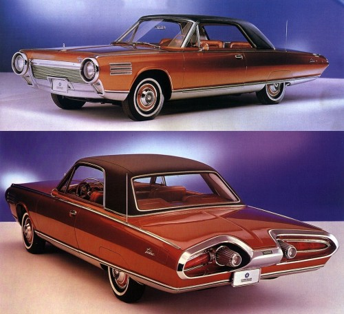 "63 Chrysler turbine car. Chrysler is said to have built 5 prototypes, and 50 ""production"" cars that they gave to consumers to test and give feedback on how the turbines acted in the field. When the testing was done all were destroyed but 9 or so, of the them only 6 ran. Given to museums or collectors few are ever seen, I have seen two, one in the Henry Ford Museum and one in the Chrysler Museum. There is video footage on the internet showing some of them being destroyed, I get tears in my eyes watching. They were destroyed for a couple reasons, mainly because the liability if they got into the wrong hands. Jay Leno purchased one from the Chrysler museum a few year back $$$$$$$? They would run on diesel fuel, unleaded gas, kerosene, jet fuel, vegetable oil and tequila. They would wind up to 44,500 rpm. Try that in your big block!!!!"
