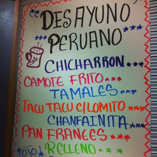 My kind of menu #peruvian #breakfast #divetofive #100tables