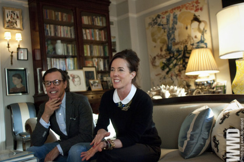 womensweardaily:  Calling the Spades: Kate and Andy Spade Look Back The day after this year's presidential inauguration turned out to be the perfect time to interview Kate and Andy Spade on the 20th anniversary of the company they founded in 1993. For the ceremonial occasion of her dad's incumbency, Sasha Obama had appeared on the mall in a purple coat by Kate Spade, thus handing a reporter an icebreaker on a silver platter — except Kate Spade beat her to the punch.  The couple and their two partners cashed out of the company seven years ago to the tune of $59 million. For More  [above: Andy and Kate Spade photographed in their Manhattan apartment last month.]