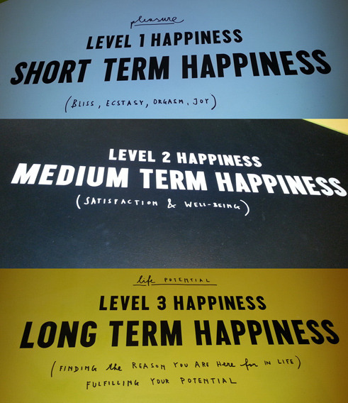 Happiness pie chart as part of Stefan Sagmeister's The Happy Show.  for more info thehappyshow.tumblr.com