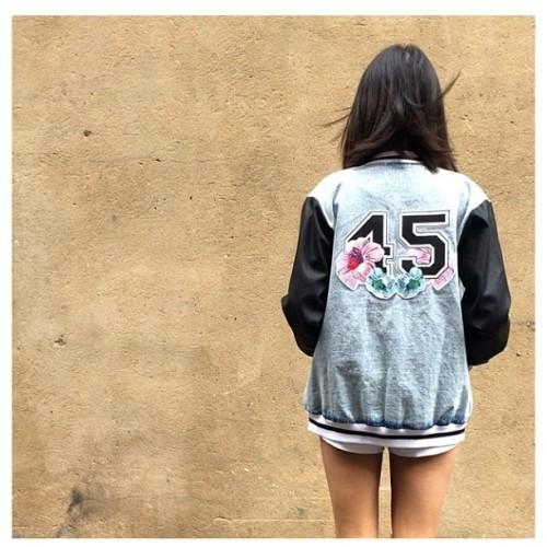 45 is one lucky number 🌸 #bomberjacket #varsityjacket #denimjacket #leatherdetails #embroidery #labelqueen #beirut #gemayze #lebanon #beirutfashion #streetstyle #beirutstreetstyle