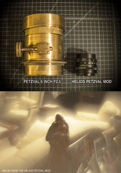 A image of a PETZVAL 6 inch f 2.5 lens on the left and a modified Helios 58mm f2.0 lens on the right. The image below was taken with the HELIOS PETZVAL MOD. This particular lens flares beautifully and produces petzval like bok