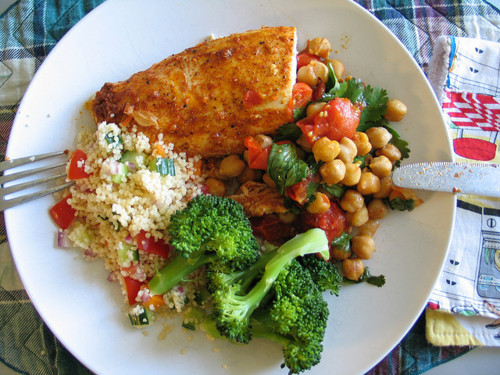 thehealthycook:  fish, broccoli, chikpea salad(chickpeas, tomato, and basil) with whole grain cous cous on the side.