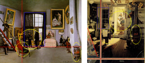 """[…] Most impressive of all is the link the algorithm makes between Frederic Bazille's Studio 9 Rue de la Condamine (1870) and Norman Rockwell's Shuffleton's Barber Shop (1950). """"After browsing through many publications and websites, we concluded, to the best of our knowledge, that this comparison has not been made by an art historian before,"""" say Saleh and co. And yet a visual inspection shows a clear link. The yellow circles […] show similar objects, the red lines show composition and the blue square shows a similar structural element, say Saleh and co.(+) (Ref:Toward Automated Discovery of Artistic Influence)"""