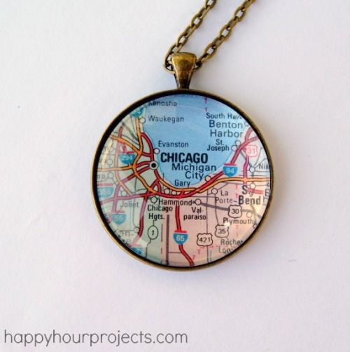 DIY Easy Map Pendant Tutorial from Happy Hour Projects here. Adrianne used to sell these necklaces on her Etsy site, but since she doesn't anymore she posted this really easy tutorial on her blog. What's nice is you can use any paper souvenir/keepsake for this project. For lots more DIY map projects go here: truebluemeandyou.tumblr.com/tagged/maps