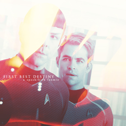 "suluism:   First Best Destiny - a Spock/Kirk Fanmix ""You once said being a starship captain was my first, best destiny… if that's true, then yours is to be by my side. If there's any true logic to the universe… we'll end up on that bridge again someday."" (x) The Only Moment We Were Alone - Explosions in the Sky // All Is Violent, All Is Bright - God Is An Astronaut // First Breath After Coma - Explosions in the Sky // They Move On Tracks of Never-ending Light - This Will Destroy You // Your Hand in Mine (w/ strings) - Explosions in the Sky // Threads - This Will Destroy You // Home- Explosions in the Sky // All Alright - Sigur Rós // The Birth and Death of Day - Explosions in the Sky // Salka - Sigur Rós // Radio Protector - 65daysofstatic download // listen"