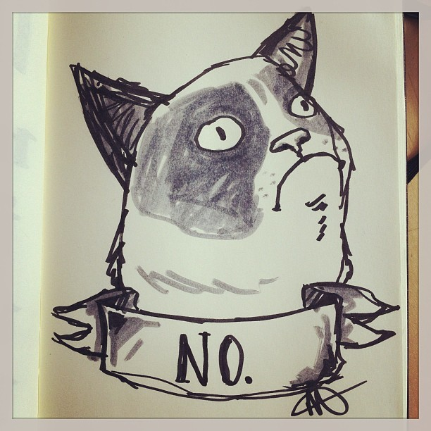 asifhisheartwouldbreak:  Early morning #grumpycat. He is my spirit animal.  I drew this this morning in Starbucks