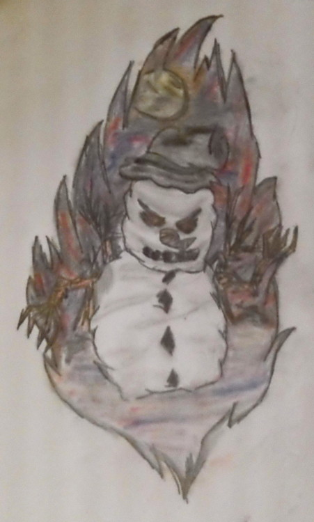 "This was my drawing I did last night for my bro-in-law. His last name is Snow & he asked for a ""sinister looking snowman"". Pretty proud of it."