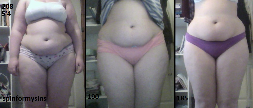 curvy-fitness:  beforeandafterfatlosspics:  spinformysins I'm Nicole, 5'4, and my highest weight was 208lbs. I now weigh 185lbs. I'm proud of myself for getting this far, although I've not been working as hard as I could be, so it's time to step it up a gear.  I feel I've still got about 60lbs to lose but who knows when I get there? I've realised that you have to have more than being thin as your motivation throughout this - it's really exciting to see yourself reach fitness goals and this can often be even more rewarding than seeing the scale go down!  I seem to hit a lot of plateaus lately and it's extremely frustrating but I'm NEVER giving up. Remember to fall in love with yourself at any weight, I'm covered in stretch marks and sometimes it gets me down but then I remember what I love about myself!  Good luck everyone on becoming super healthy and fit!    You go girl!!! Never stop striving to achieve your dreams
