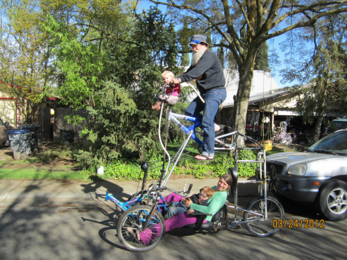 Uber Tripedo, fully loaded, Family Tallie Tadpole Tricycle Two-Storey Tandem!! by whymcycles.