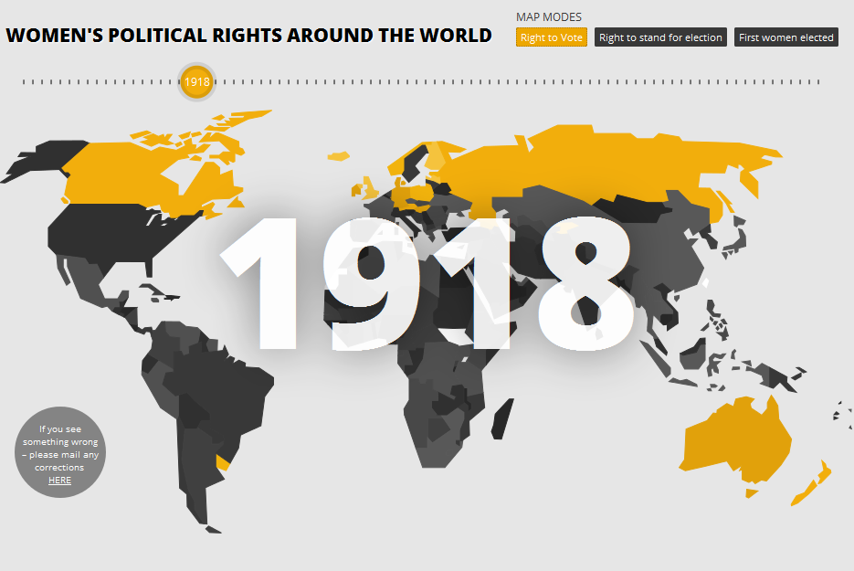 This interactive map timeline shows when women won the right to vote and when the first woman was elected in each country.   The sad part is that even by 2011, the map isn't completely filled in. (via The Guardian)