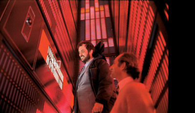 Stanley Kubrick and production designer Tony Masters inside HAL's logic center, from '2001: A Space Odyssey', 1968 via taschen