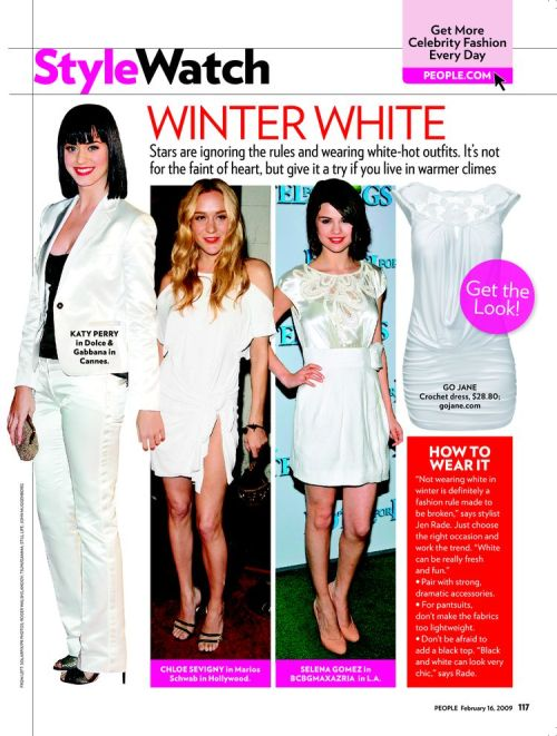Katy Perry, Chloe Sevigny and Selena Gomez in whites — People magazine
