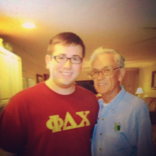"My grandpa and I. This man and my grandma watched me every day until I was 4 years old. He always called me his ""buddy."" Well, I hadn't seen him for almost two years and today he says ""you know you're still my buddy, right?"" So much has changed, I'm glad that hasn't 😄 #family #photoofaphoto #memories"