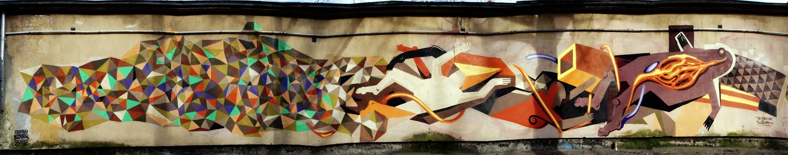 Seikon x Jacyndol New Mural In Gdansk, Poland StreetArtNews, streetartnews.net After his recent stop by Zukowo, Poland (covered), Seikon is back in Gdansk where he just completed this new piece with his friend Jacyndol.With this massive wall, Seikon combined some of his colourful geometric line-based imagery with Jacyndo…  Seikon x Jacyndol New Mural In Gdansk, Poland http://flip.it/xnQRO