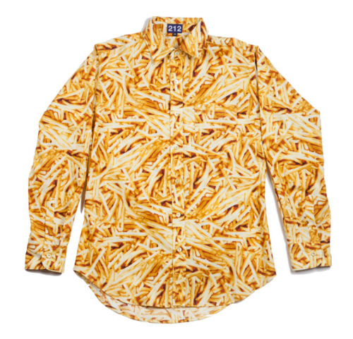 "nylonguysmagazine:  FRENCH FRIES BY 212 Whether you call 'em chips, pomme frites, or french fries, we don't care, we're gonna come clean about our love for this beautiful food right here and now. You may recall a previous post or two about that umbrella or these socks. A new venture from ""Bowery"" Bobby Waltzer, of Peg Leg fame, and Sebastian Bear simply called 212 recently released this French Fries shirt and we're bout it, bout it. This 100-percent cotton, digitally printed wonder with pearly yellow buttons is going to look good with a red bow tie at our homie's wedding next month. Yes, we're serious about this french fry affair. Cop one HERE and fall madly in love with the rest of the 212 collection of goods.  Kinda want to buy one"