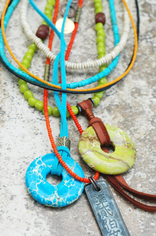 Caribbean Boho Necklace: Exotic Island Inspired Turquoise, Lime & Orange Long Pendant Necklace Click to buy