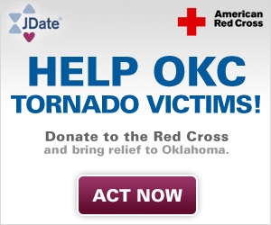 Our thoughts and prayers go out to the victims impacted by the OKC tornado. To show our support, a portion of today's JDate subscription sales will be donated to relief efforts. Join our efforts by subscribing to JDate or donate directly to the cause through our crowdrise page.http://www.crowdrise.com/reliefeffortsoklahoma/fundraiser/jdate