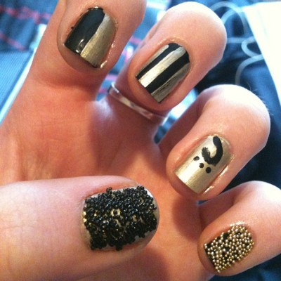 Black and gold #black #gold #nails #nailart #naildesign #caviar #cool #3d #emmabonkers  (at Whitstable)