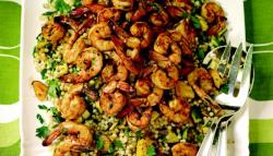 Grilled Chile-Lime Shrimp with Israeli Couscous, Mango, and Zucchini