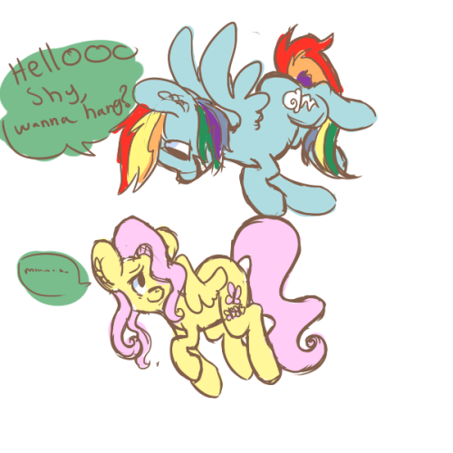 doodling some ponies ahhRainbow Dash how are you even flying-
